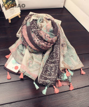 KYQIAO 2017 Women hijab scarf female autumn winter long Japanese style fresh Art Style print scarf muffler cape shawl