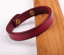 G370 Red  Simply Stylish Single Band Genuine Leather Bracelet Wristband Women's New