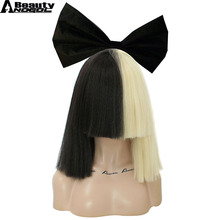 ANOGOL BEAUTY Bowknot +Hair Cap+ Half Blonde And Black Flat Bangs Sia Straight Yaki Style Synthetic Cospaly Wig For Party(China)