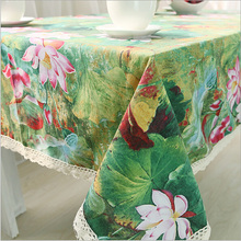 Traditional Chinese Green Table Cloth Printed Lotus Tablecloths Lace Rectangular Table Cover Home Supply Many Size High Quality(China)
