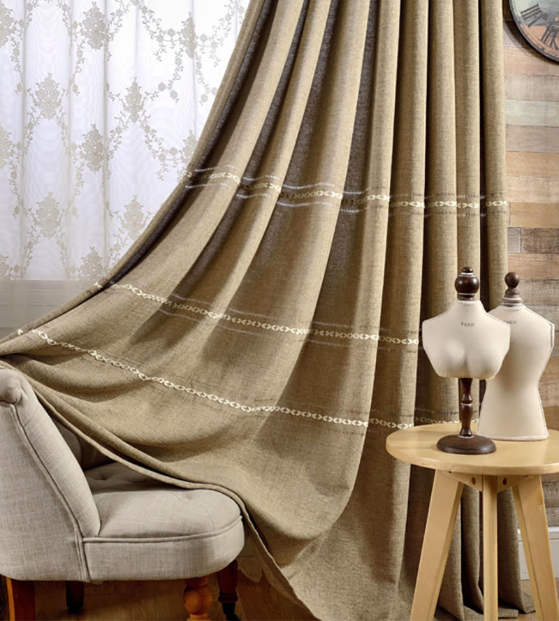 2018 New Solid Jacquard Curtains Coffee Decorative Living Room Bedroom half-shade High Precision Hemp woven Thicken Custom size 13
