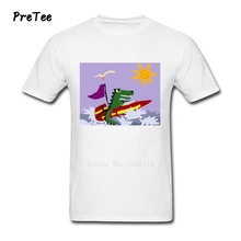 Alligator In Speedboat Man's T Shirt Pure Cotton Short Sleeve Crew Neck Tshirt Tees Adult 2017 Modern T-shirt For Men