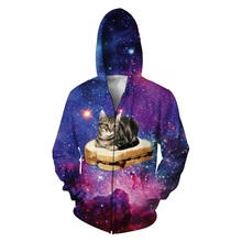 PBJ Space Kitty Zip-Up Hoodie adorable kitty floating sandwich Galaxy Nebula Cat Jumper Women Men Outfits Sweatshirt Coats Tops