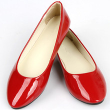 2017 Soft PU Candy Colors Girl Flats Shoes Red Wholesale Rubber Ballet Zapatos Point Toe Women Casual Shoes H021