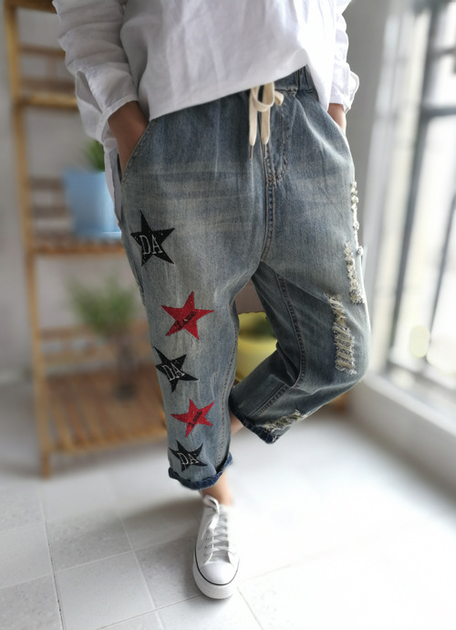 Spring summer Women Embroidered Denim Pants Ladies Stars Letters Preppy Style Jeans Calf Length Elastic Waist Denim TrousersОдежда и ак�е��уары<br><br><br>Aliexpress