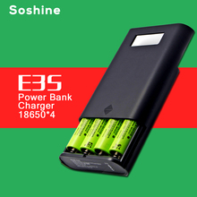 Soshine E3S Authentic Original Portable Power Bank and Battery Charger with Dual USB and LCD Display for 18650 Battery