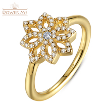 925 Sterling Silver Lace Patterns Botanique Flower Floral Gold Ring With Clear CZ Original Jewelry for Women PA7142