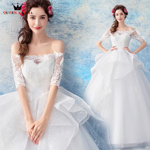 Buy QUEEN BRIDAL Wedding Dresses Ball Gown Half Sleeeve Lace Tulle Elegant Romantic Wedding Gowns Vestido De Noiva Bridal Gowns JW85 for $115.00 in AliExpress store