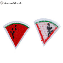DoreenBeads 10PCs Polyester Patches Appliques DIY Scrapbooking Craft Clothes Decoration Watermelon Fruit Red