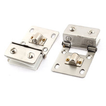 UXCELL Glass Window Door Display Cabinet Adjustable Clamp Metal Hinge Silver Tone 2Pcs