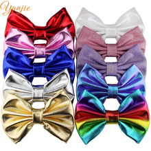 10pcs/lot 5'' Big Messy Metallic Glitter Bow Hair Clips For Children And Kids Hair bows Little Girls Headbands Hair Accessories(China)