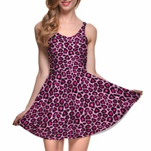 Drop Ship Fashion Summer Women Casual Work Dresses Digital Printing Pink Leopard Skater Dress Vestidos Bodycon