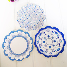 3 Style 18cm Blue Petal Round Paper Plates 350g White Cardboard Party Supplies Paper Disposable Plates(China)