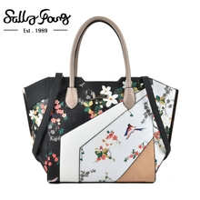 Sally Young Brand Original Designed Patchwork Fashion Flower Prints Tote Bag Color Blocking Handbags Women Bags Designer SY2127(China)