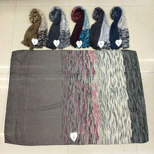 2016 Zebra Print scarf with plain shawl ombre color scarves and shawls fashion arab hijabs muslim head scarfs wrap hot sale