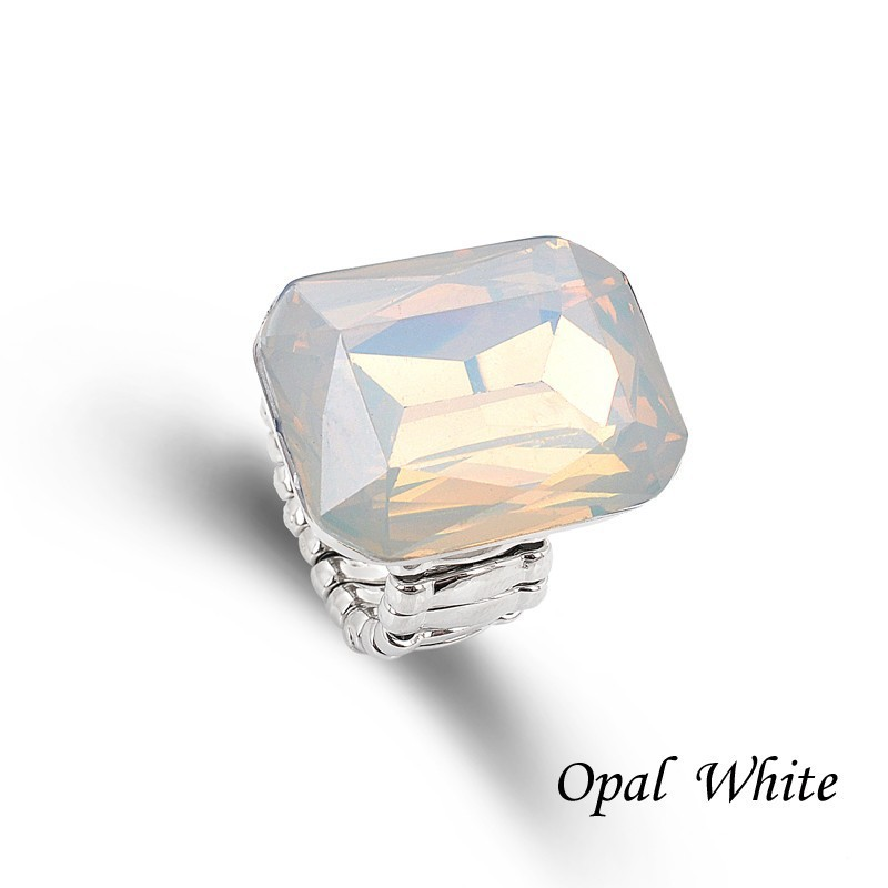 Ring for Women 7 opal Colors Big resin Fashion Elastic Stretch Finger Rings Jewelry Christmas Gift (6)