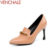 Buy VENCHALE metal decoration slip-on dress strong durability pointed toe woman shoes thin high heels comfortable woman pumps for $42.75 in AliExpress store