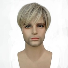 StrongBeauty Men Wig Short Straight Blonde Mix Synthetic Natural Full Wigs(China)