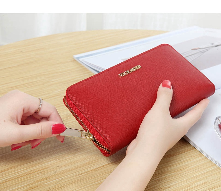 VICKAWEB Big Female Wallet Solid Women Wallets Genuine Leather Zipper Long Purses New Standard Wallets Fashion Ladies Purse 06-VICKAWEB06--011