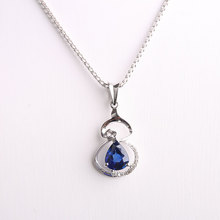 Robira Wholesale Gourds Pendants for Women 18K White Gold 100% Natural Sapphire Pendant Necklace Diamond Fashion Charm Jewellery(China)