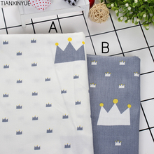 Light Blue Cartoon crown farbic 95% Cotton Fabric Fat Quaters Tilda cloth Quilting sewing scrapbooking Angel Patchwork Fabric
