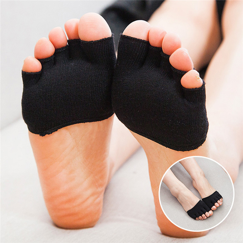 Cotton 1Pair 5 Toes Breathable Sponge Half Insoles Pads Cushion Metatarsal Sore Forefoot Support Massage Toe Socks