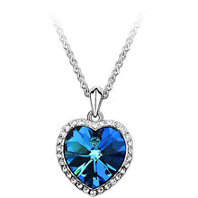 The New Fashion Blue Crystal Love Heart Pendant Necklaces For Women Titanic Heart of the Ocean Noble Elegant Lady Banquet x136