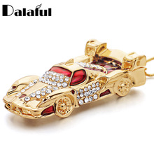 Unique Sports Car Roadster Key Chains Holder Enamel Blue Red Rhinestone Bag Pendant Keyrings KeyChains For Women Men K279