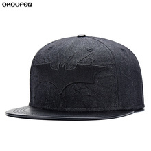 Hot 2017 New Fashion Denim leather Batman Baseball Cap Hats For Men Women Casual Bone Hip Hop Snapback Caps Sun Hat MZ1(China)