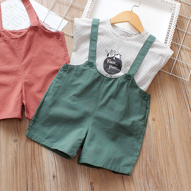 2019 Summer Baby Sets Striped Dog T with Strap Shorts Wholesale Children's Wear