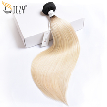 Doozy Straight Ombre Russian Blonde Brazilian Hair 1 bundle Double Weft Hair Extensions Color 1b/613 Remy Human Hair Weave(China)
