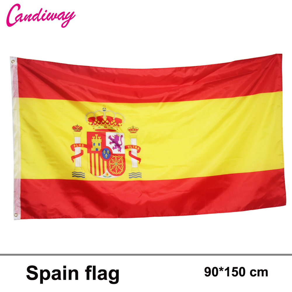 90x150cm spain flag 3x5 Feet Super Poly football FLAG Indoor Outdoor Polyester Flag National Pennants world cup Flag(China (Mainland))