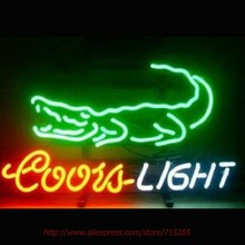 Coors light Crocodile Neon Sign Neon Bulbs Led Sign Real Glass Tube Lamp Handcrafted Decorate Beer Bar Pub Advertise Neon 24x20(China)