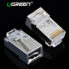 Ugreen Cat6 RJ45 Connector 8P8C Modular Ethernet Cable Head Plug Gold-plated Cat 6 Crimp Network RJ 45 Connector Cat6(China)