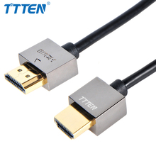 Famous Brand TTTEN HDMI thin Cable Version 2.0 HDMI TV Cable Copper shell Gold-plated for HD TV LCD Laptop PS3 Projector PC