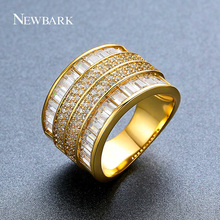 NEWBARK Exquisite Designer Paved Setting and Channel Setting 4 Rows CZ Clear Stones Impressive Gift Jewelry for Your Best Friend
