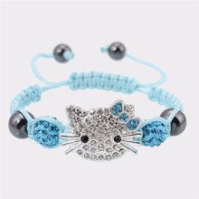 4 pcs/lot Wholesale Hello Kitty Rope Chain Charm Bracelets Kid Cute Handmade Crystal Braided Girl Adjustable Bracelet(China)