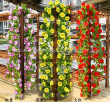 200CM Simulation rattan,32 silk flowers artificial vines flower for Window door wall decor,christmas wall hanging decorations
