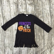 Halloween baby girls kids Fall fringe tassels outfits dress princess of the patch pumpkin boutique cotton long sleeve clothing(China)