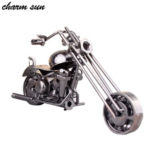Lovely Mini Vintage Metal Motorcycle Model Home Furnishing Office Gifts Jewelry Ornaments Toy Boys Gifts Kids Toys(China)
