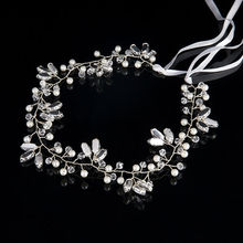 TUANMING 2017 Romantic Ornament Luxury Fashion Wedding Headband Pearl Crystal Flower Bride Headdress Wedding Jewelry Ribbon Hair(China)