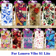 "AKABEILA  Silicon Cell Phone Shell Hood For Lenovo Vibe S1 Lite Lenovo S1La40 5.0""  Bags Rose Peony Flower Cases Covers"