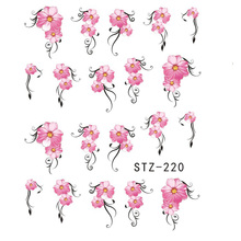1 Sheet Pink Flowers Fashion Nail Art Stickers Water Transfer Decals Beauty Wraps DIY Manicure Decoration Tools LASTZ218-233