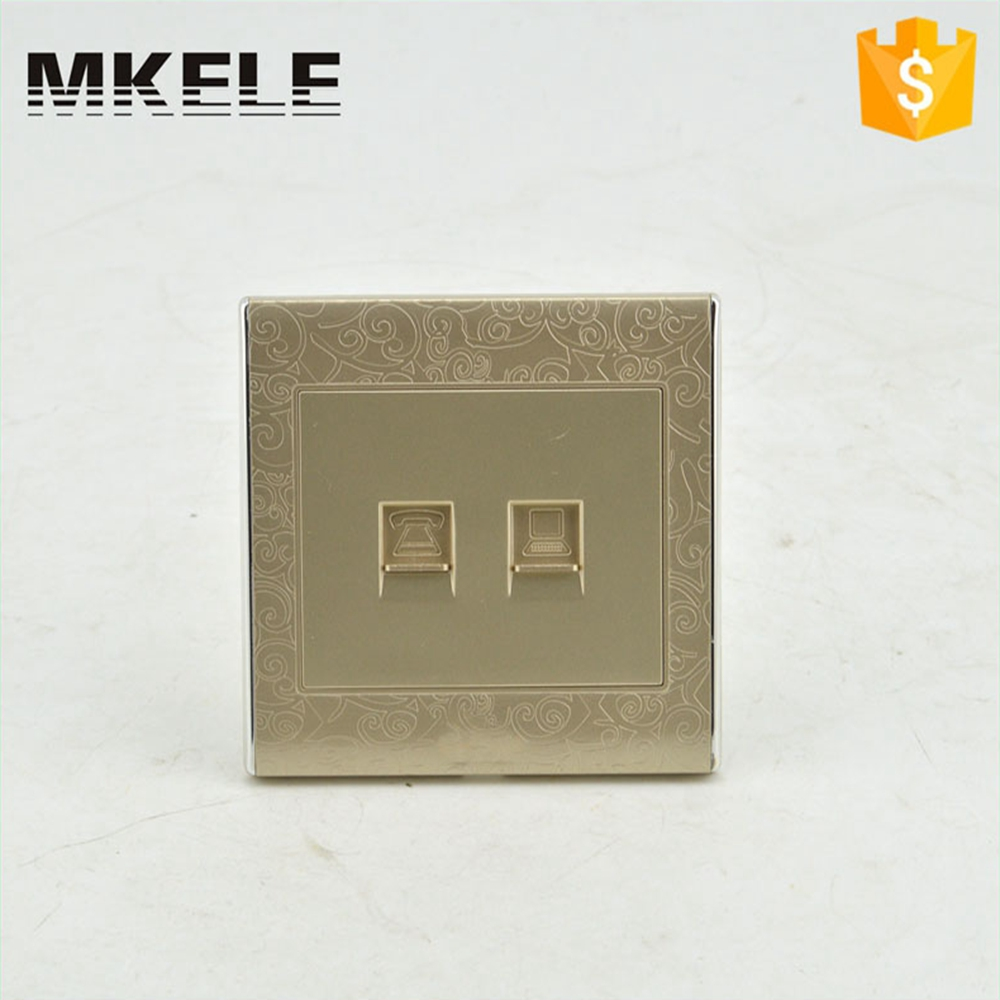 Golden Color Universal Electrical Tel And Computer Socket Wall Outlet Mounted Power High Quality MK-WS05026<br><br>Aliexpress