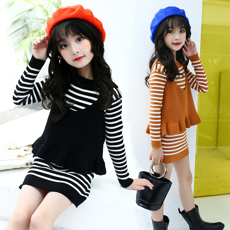 Childrens Garment 2017 Autumn Clothing New Pattern Girl Solid Color Camisole Increase Sweater 2 Pieces Set<br>
