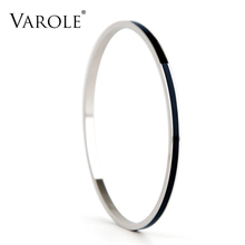 VAROLE 3 CLR. Enamel Top Quality Stainless Steel Bangle Cuff Bracelets Accessories for Women Clothing Accessories Trendy Jewelry