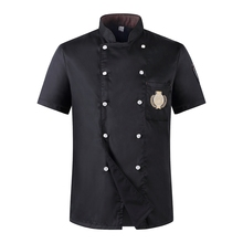 Chef Uniform 2017 Summer Short-sleeve pocket embroidery Breathable Double-breasted Restaurant Food Service Chef Jacket Kitchen