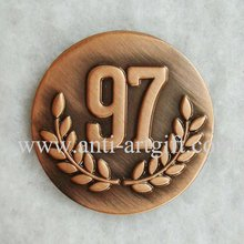 Custom 3D coins Logo antique Cooper Enamel emblem customized base on clients letter of lapel pins high quality(China)