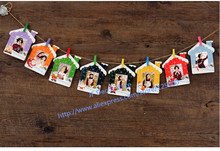 "3"" DIY Hanging Paper Colorful Photo Frames For Home Decoration, 9pcs/Set, 45pcs/Lot Free Shipping(China)"