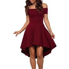 New Women Elegant Short Sleeve High Low Skater Party Wear To Work Fitted Dress Casual Off Shoulder Swing Mini Dress Vestidos